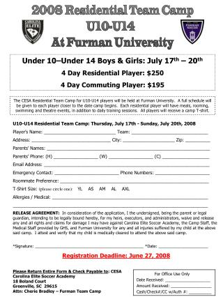 2008 Residential Team Camp  U10-U14   At Furman University