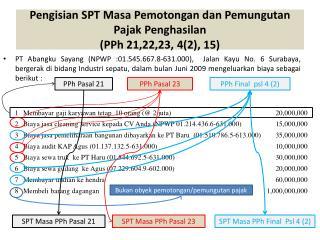Pengisian SPT Masa Pemotongan dan Pemungutan Pajak Penghasilan (PPh 21,22,23, 4(2), 15)