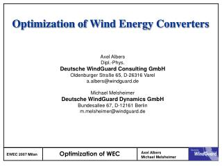 Optimization of Wind Energy Converters