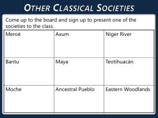 Other Classical  Societies