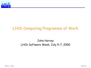 LHCb Computing Programme of Work