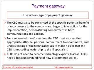 Benefit of using payment gateway