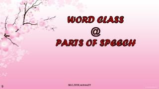 WORD CLASS  @ PARTS OF SPEECH