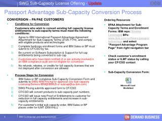 Passport Advantage Sub-Capacity Conversion Process