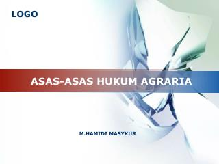 ASAS-ASAS HUKUM AGRARIA