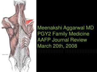 Meenakshi Aggarwal MD PGY2 Family Medicine AAFP Journal Review March 20th, 2008
