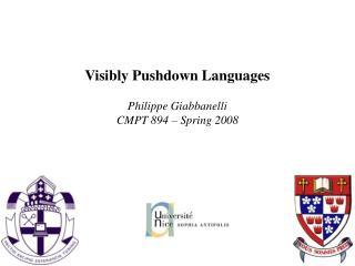 Visibly Pushdown Languages