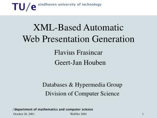 XML-Based Automatic  Web Presentation Generation