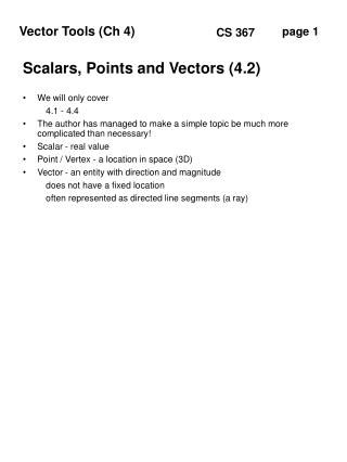 Scalars, Points and Vectors (4.2)