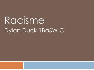 Racisme Dylan  D uck 1BaSW C