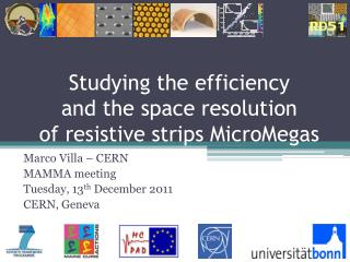 Studying the efficiency and the space resolution of resistive strips MicroMegas