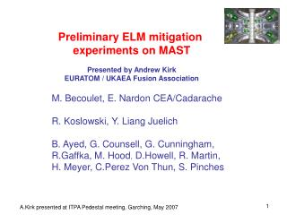 Preliminary ELM mitigation  experiments on MAST Presented by Andrew Kirk