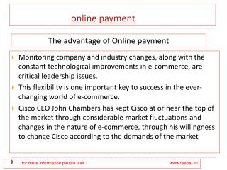 Benefit of using online payment