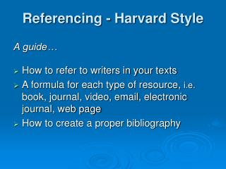 Referencing - Harvard Style