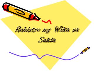 Rehistro ng Wika sa Sakla