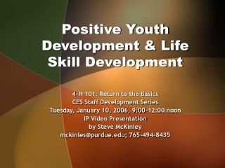 Positive Youth Development  Life Skill Development