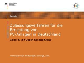 Zulassungsverfahren für die Errichtung von  PV-Anlagen in Deutschland