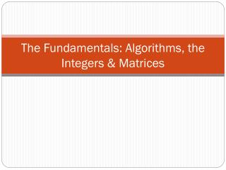 The Fundamentals: Algorithms, the Integers & Matrices