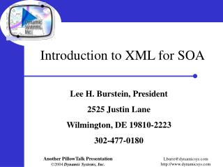Introduction to XML for SOA
