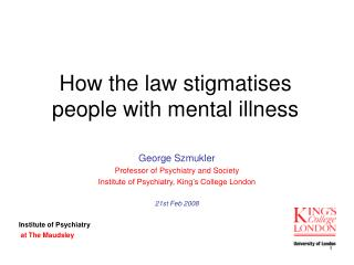 How the law stigmatises people with mental illness