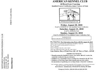 NORTHWEST RHODESIAN RIDGEBACK CLUB Jeannette Ennis 31819 SE 48 th  St. Fall City, Wa  98024