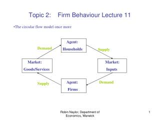 Topic 2:    Firm Behaviour Lecture 11