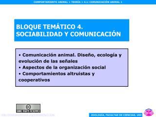 BLOQUE TEMÁTICO 4. SOCIABILIDAD Y COMUNICACIÓN