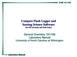 Compact Flash Logger and Sensing Science Software (for HP Jornada and Dell Axim)