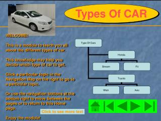 WELCOME! This is a module to teach you all about the different types of car.
