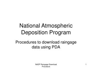 National Atmospheric Deposition Program