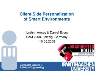 Client Side Personalization  of Smart Environments