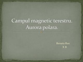 Campul magnetic terestru. Aurora polara.