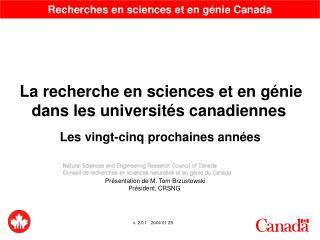 Recherches en sciences et en g�nie Canada