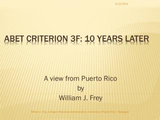 ABET Criterion 3f: 10 Years Later