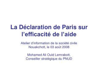 La Déclaration de Paris sur l'efficacité de l'aide