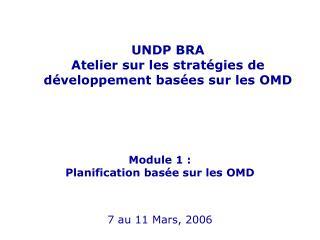UNDP BRA Atelier sur les stratégies de développement basées sur les OMD Module 1 :