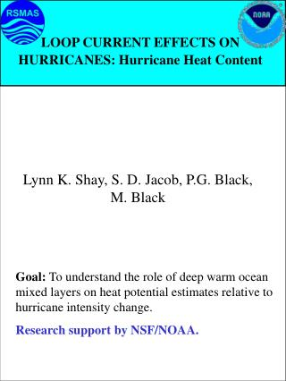LOOP CURRENT EFFECTS ON HURRICANES: Hurricane Heat Content