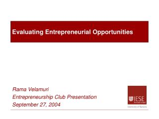 Evaluating Entrepreneurial Opportunities