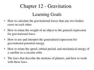Chapter 12 - Gravitation