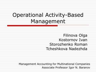 Operational Activity-Based Management