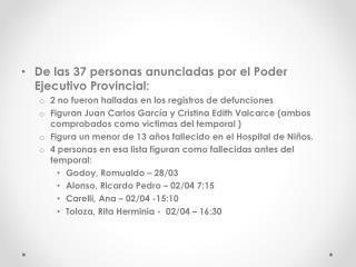 De las 37 personas anunciadas por el Poder Ejecutivo Provincial: