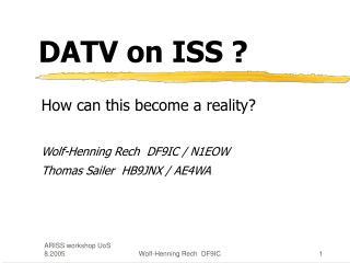 DATV on ISS