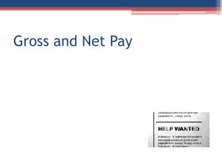 Gross and Net Pay