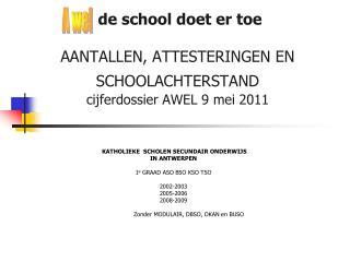 de school doet er toe AANTALLEN, ATTESTERINGEN EN SCHOOLACHTERSTAND cijferdossier AWEL 9 mei 2011