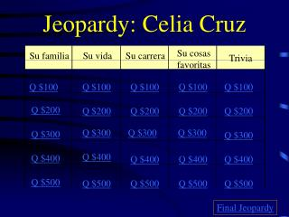 Jeopardy: Celia Cruz