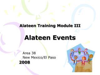 Alateen Training Module III Alateen Events