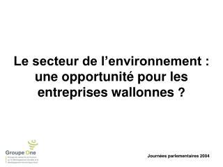 Le secteur de l'environnement :  une opportunité pour les entreprises wallonnes  ?