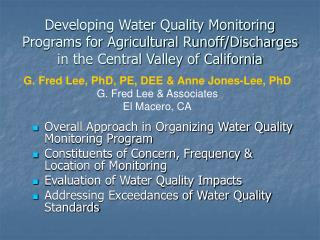 Overall Approach in Organizing Water Quality Monitoring Program