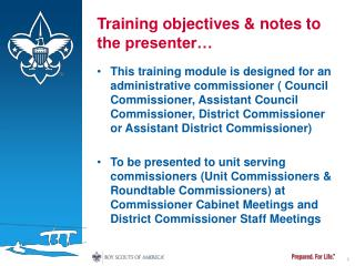 Training objectives & notes to the presenter�