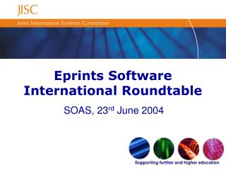 Eprints Software International Roundtable